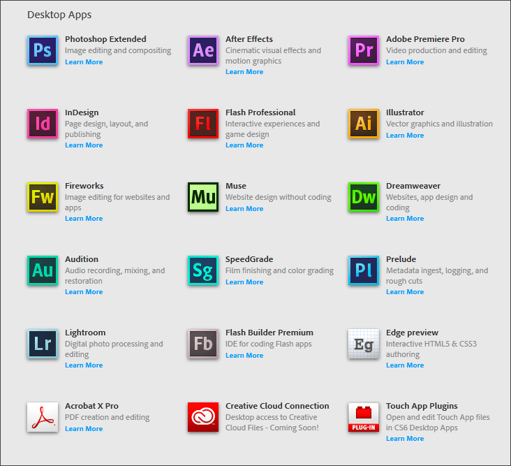 Adobe Creative Cloud Desktop Applications