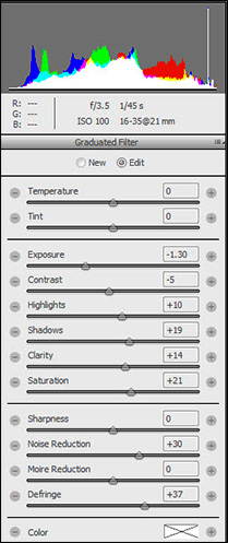 Histogram and Settings After Applying the Graduated Filter