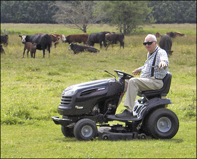"Bob Andrew ""Flying"" the Mower"